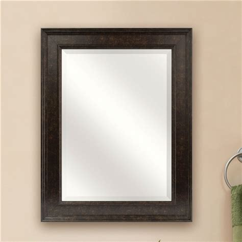 beveled rectangular bathroom vanity mirror with bronze finish frame fastfurnishings