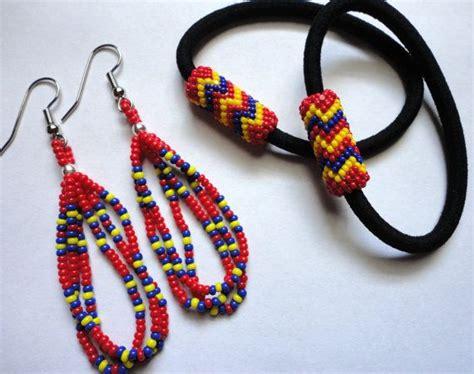 beaded hair ties american beaded earrings with matching hair ties