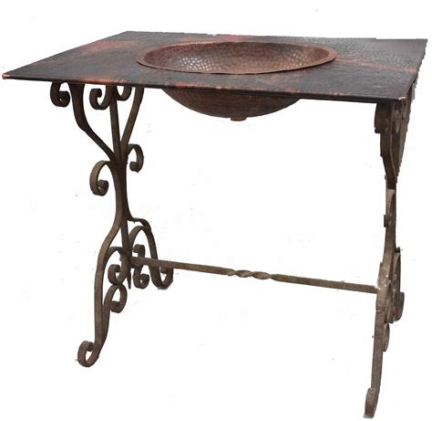 Wrought Iron Vanity Table by Replica Wrought Iron Rectangle Copper Sink Top
