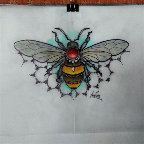 traditional bee tattoo colorful new school jem decorated bee on dotwork