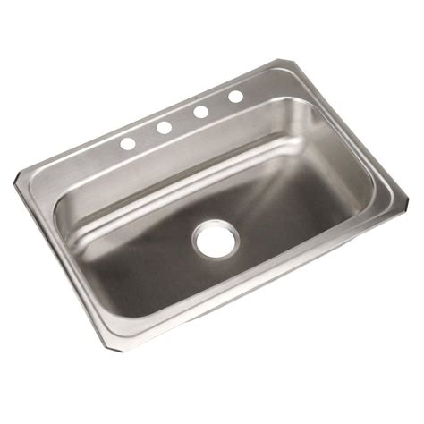 stainless steel single bowl kitchen sink elkay pacemaker drop in stainless steel 22 in 3 hole