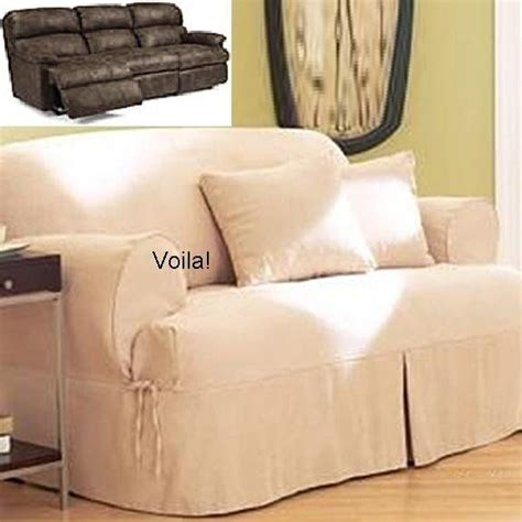 Slipcover For Dual Reclining Sofa Reclining Sofa T Cushion Slipcover Ivory Heavy Suede