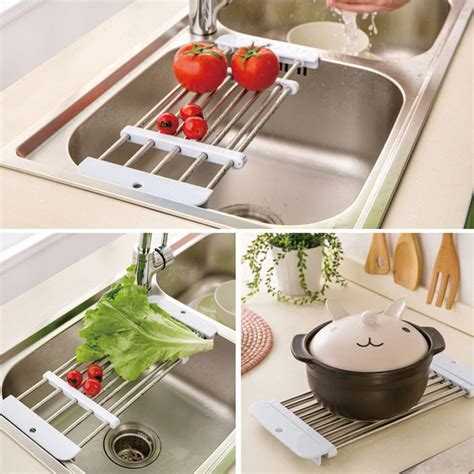 Kitchen Sink Storage Trays Aliexpress Buy High Quality Retractable Stainless Steel Sink Drainer Fruit Vegetable Shelf