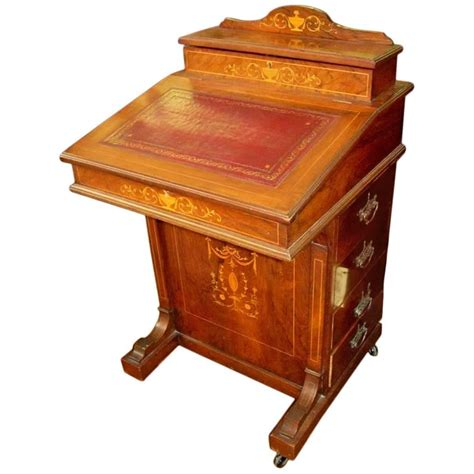 Captains Desk by Marquetry Inlaid Rosewood Davenport Or Ship