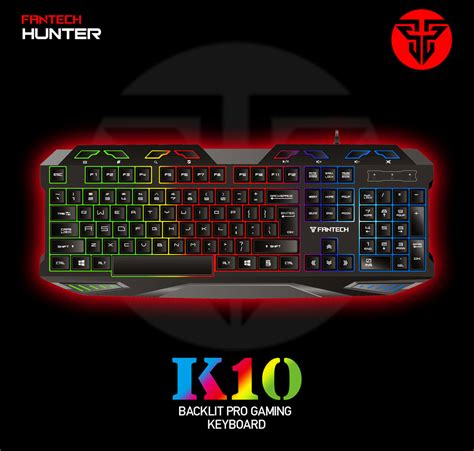 Fantech Keyboard Gaming K10 dropship fantech k10 professional usb wired colorful