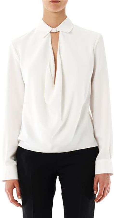 drape neck blouse balenciaga drape neck crepe blouse in white lyst