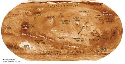 mars map large version of composite map of mars in hungarian