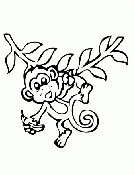 coloring page monkey hanging hanging monkey with banana coloring page h m coloring