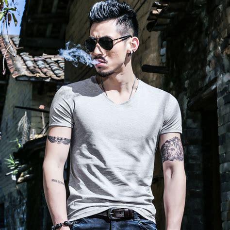 V Neck T Shirt Kaos Pria Keren Murah kaos polos katun pria v neck sleeve size l t shirt white jakartanotebook