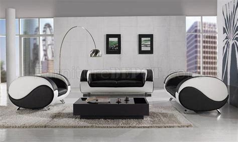 white leather modern living room set black white leather 3pc modern artistic living room set