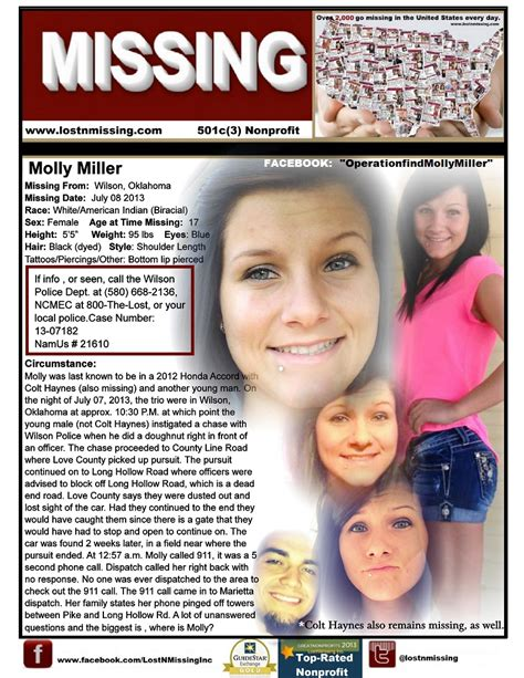 missing molly books molly miller july 08 2013 wilson ok