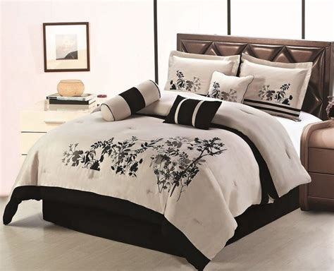 black and beige comforter chezmoi collection 7pcs beige black soft embroidery floral