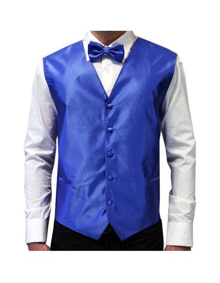Id 2662 White Blue Set White Blouse Blue Skirt white shirt royal blue tuxedo vest bowtie