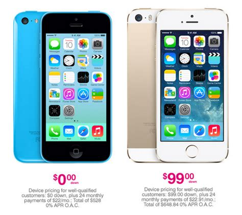 how much does an iphone 5s cost t mobile announces new iphone pricing 0 for 5c 99 for 5s