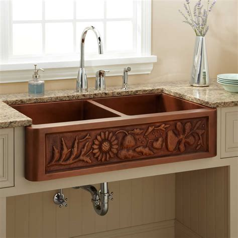 Copper Farmhouse Kitchen Sinks 71 Quot Copper Farmhouse Sink With Dual Drain Boards Kitchen