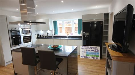 Black Gloss Kitchen With White Worktops by White Gloss Kitchen With Black Granite Worktops Worcester