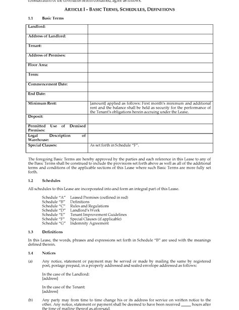 warehouse lease agreement template canada warehouse lease agreement forms and