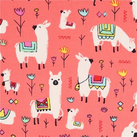 cute llama pattern coral red alpaca animal fabric timeless treasures usa