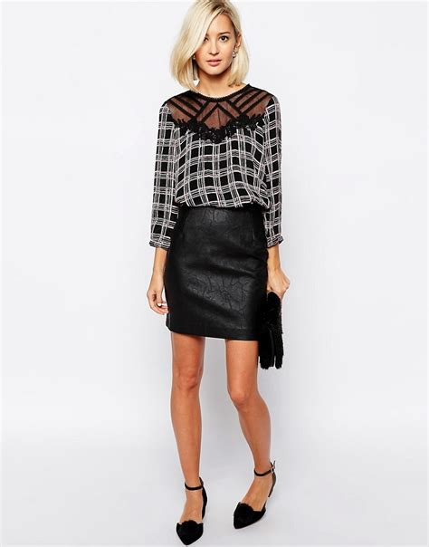 river island river island leather look mini skirt at asos