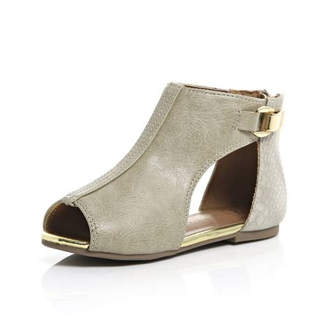 river island shoes river island mini cut out shoes in beige