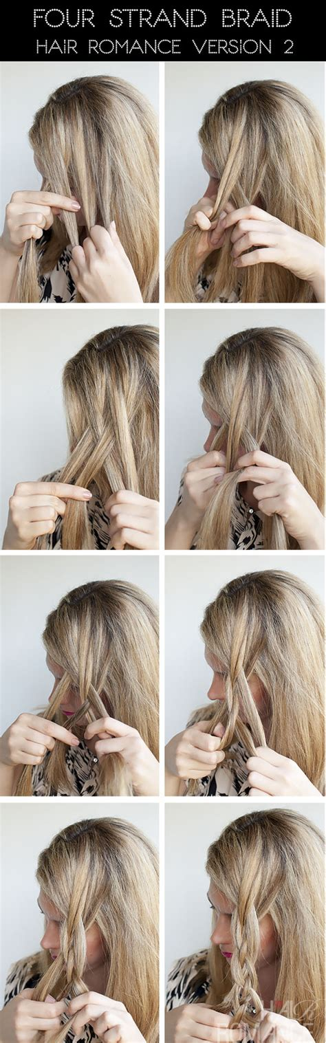 cool braided hairstyles step by step hairstyle tutorial four strand braids and slide up