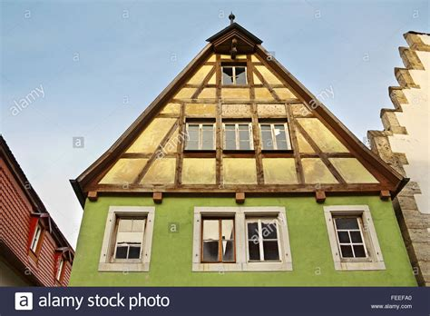 ob house facade of medieval house in old town rothenburg ob der