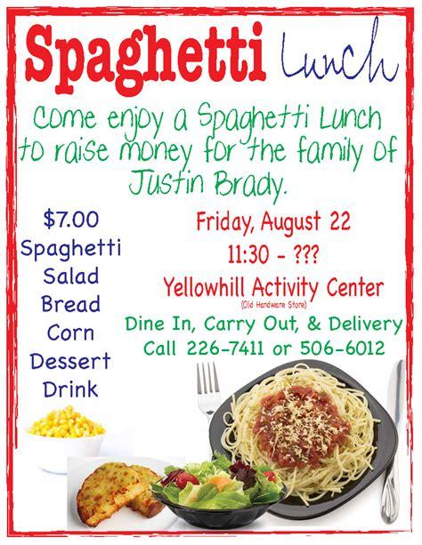 spaghetti fundraiser for justin brady the cherokee one