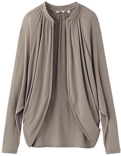 long sleeve draped cardigan uniqlo easy drape long sleeve cardigan in gray light gray