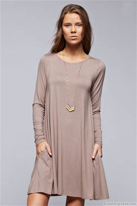 Aline Tunic sleeve jersey a line tunic dress with pockets taupe
