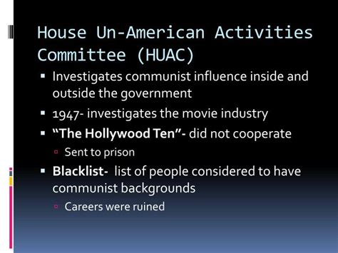 what did the house un american activities committee do ppt the cold war at home mccarthyism powerpoint presentation id 2834807