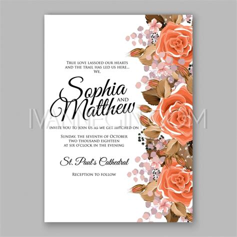 wedding invitation card suite with flower templates orange floral wedding invitation printable gold