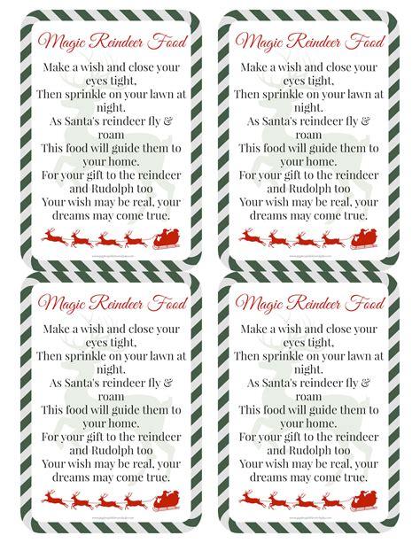 printable reindeer food directions magic reindeer food recipe