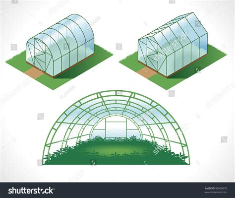 Color Picture Different Greenhouses Drawing Isometry Stock