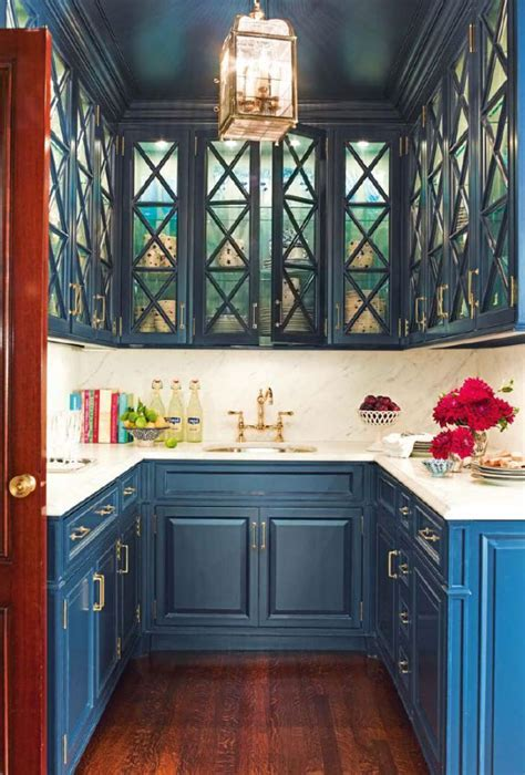Teal Blue Butler's Pantry   Interiors By Color