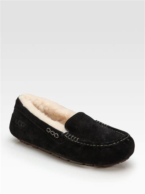 black ugg slippers ugg ansley suede pure moccasin slippers in black lyst