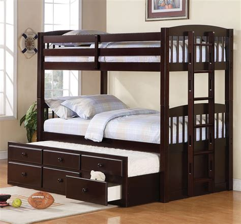 triplet bunk beds triplet bunk bed with trundle and 3 drawers mahogany