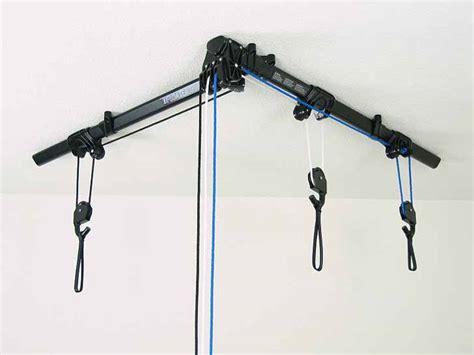 bike rack ceiling the horizontal floaterhoist lets you hang your bike from