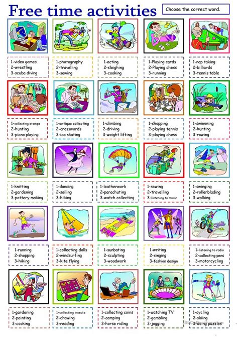 free time activities worksheet free esl printable