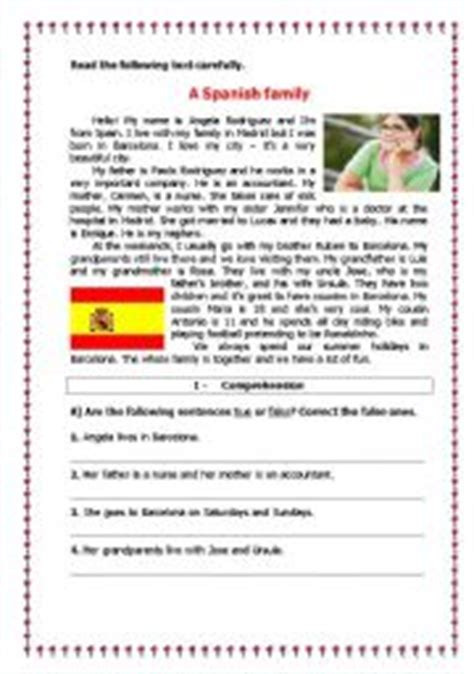 reading comprehension test in spanish printables spanish comprehension worksheets ronleyba