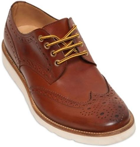 seboy s 25mm vibram sole leather lace up shoes in brown