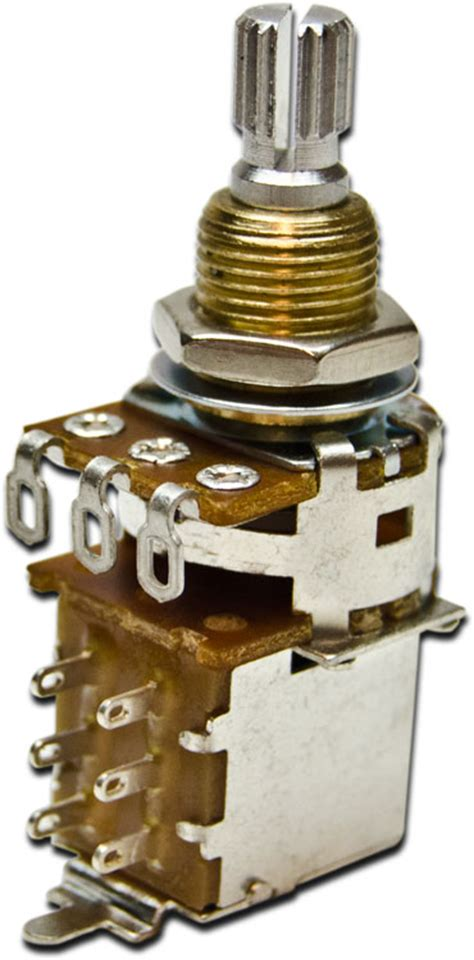 pull resistor guitar bourns 500k audio taper push pull shaft guitar potentiometer