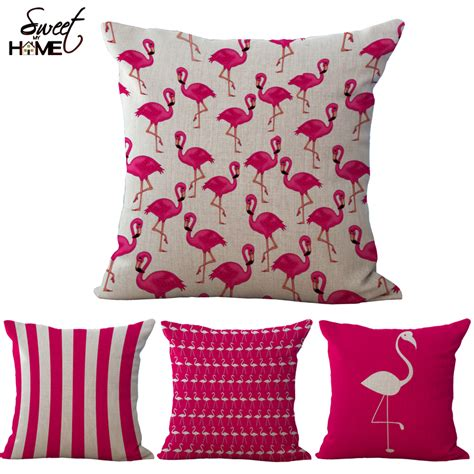 Sarung Bantal Sofa Cushion Cover Flamingo pink flamingo series printed square cotton linen decorative sofa cushion covers without filling