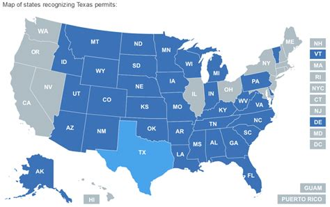 texas reciprocity map reciprocity texas concealed handgun license