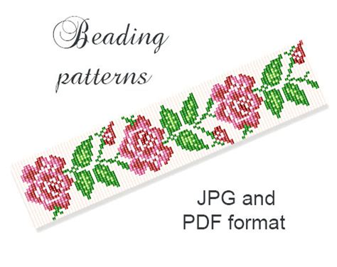 bead loom flower patterns peyote bracelet pattern seed bead pattern loom pattern