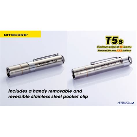 Nitecore T Series T5s Stainless Steel Led Cree Xp G2 R5 70 Lumens nitecore t series t5s stainless steel led cree xp g5 65