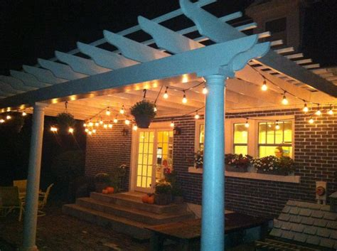 Cafe Patio Lights Our New Pergola And Cafe Patio Lights Porches And Pergolas Pinter
