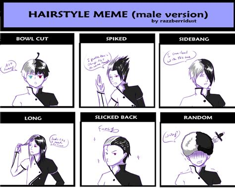 Hairstyle Meme - hairstyle meme male by yumeyorunotenshi on deviantart