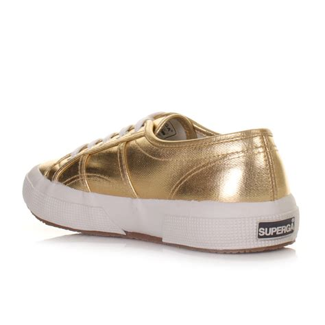 gold metallic flat shoes womens superga 2750 cotmetu gold metallic flat trainers