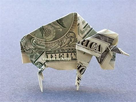 origami bison buffalo bison money origami dollar bill money