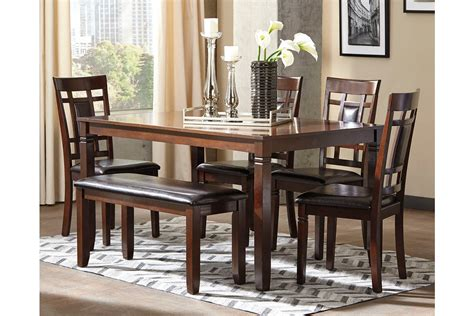 Bennox Dining Room Table And Chairs With Bench Set Of 6 Furniture Dining Room Table Sets